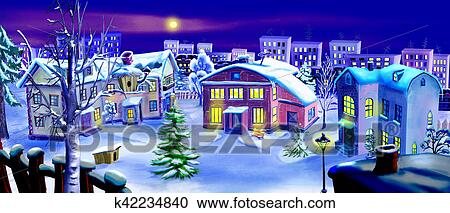 stock illustration christmas eve winter night in a small town fotosearch search - Small Town Christmas