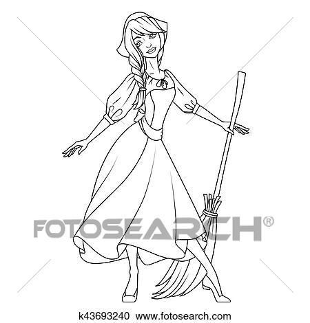 Coloring Book Cinderella Character Illustration