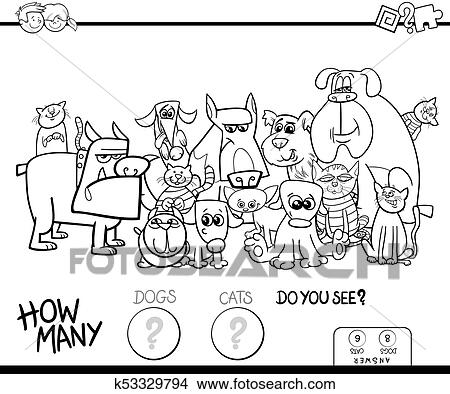 Counting cats and dogs game color book Clipart