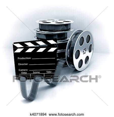 Drawings Of Film Slate With Movie Film Reel K4071894 Search Clip