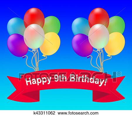 clip art of happy ninth birthday means 9th party celebration 3d