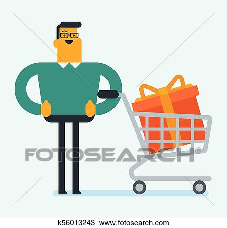 Joyful Caucasian White Man Buying Huge Birthday Gift Young Satisfied Standing Next To The Shopping Cart With Wrapped Box Bow