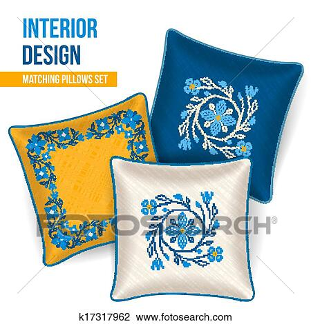 set of decorative pillow clipart k17317962 fotosearch fotosearch