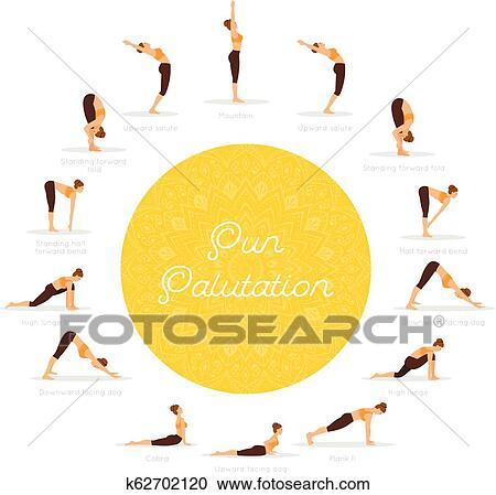 sun salutation surya namaskara clipart  k62702120