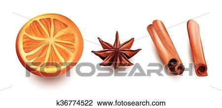 Vector Isolated Set of Orange Slice, Cinnamon Sticks and Star Anice on  White Background  Clipart