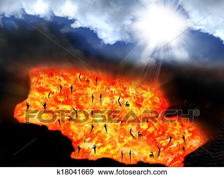 イラスト - 天国, そして, 地獄. Fotosearch