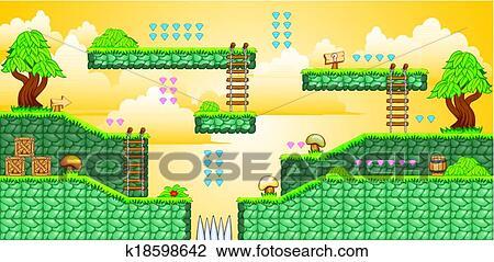 2D Tileset Platform Game 34 Clipart
