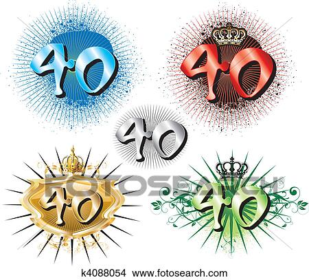 clipart of 40th birthday or anniversary k4088054 search clip art rh fotosearch com happy 40th birthday clip art free 40th birthday clipart images