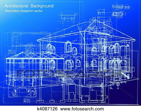 Clip art of architectural blueprint background vector k4087126 architectural white plan blueprint background vector illustartion malvernweather Images