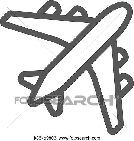 Black Plane Outline Clipart K36759803 Fotosearch