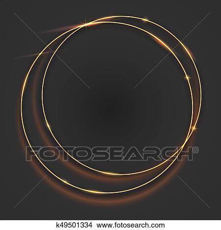 Dibujos - brillante, dorado, brillo, anillos, marco, con, efecto ...