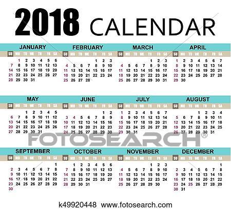 Clipart calend rio 2018 template k49920448 busca for Clipart calendario