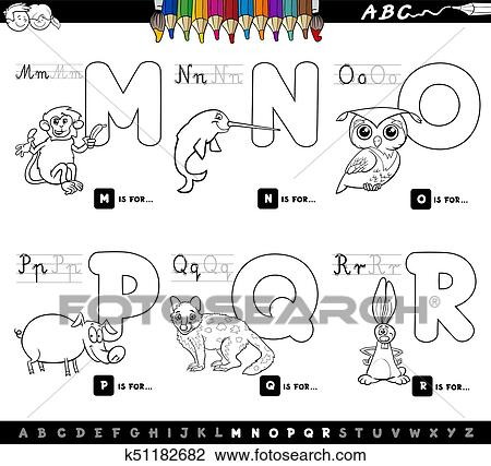 Cartoon Illustration Of Capital Letters Alphabet Set With Animal Characters For Reading And Writing Education Children From M To R Coloring Book