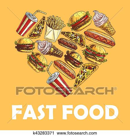 Clipart Of Fast Food Meal In Heart Shape K43283371 Search Clip Art