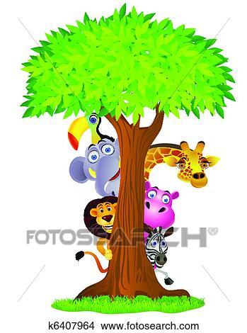 clipart of funny animal cartoon k6407964 search clip art rh fotosearch com Spring Word Clip Art Summer Tree Clip Art
