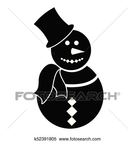 isolated snowman silhouette clipart k52391805 fotosearch fotosearch