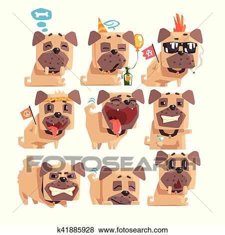 Little Pet Pug Dog Puppy With Collar Collection Of Emoji Facial Expressions  And Activities Cartoon Illustrations Clip Art