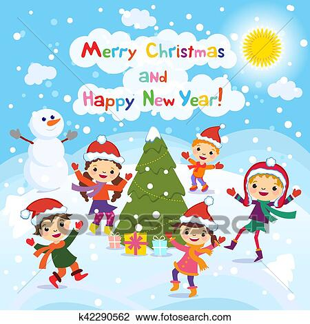 clipart of merry christmas and happy new year 2017 winter fun cheerful kids playing in the snow stock vector illustration of a group of happy children