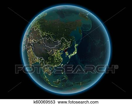 Drawing Of North Korea On Planet Earth From Space At Night K60069553