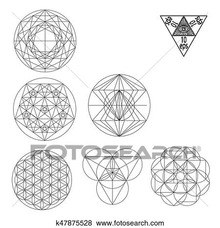 clip art of sacred geometry symbols and signes vector illustration