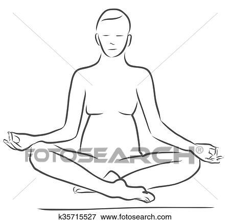 sukhasana easy pose yoga figure clip art  k35715527