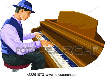 Young African American man playing grand piano with open lid Clipart |  k41033755 | Fotosearch