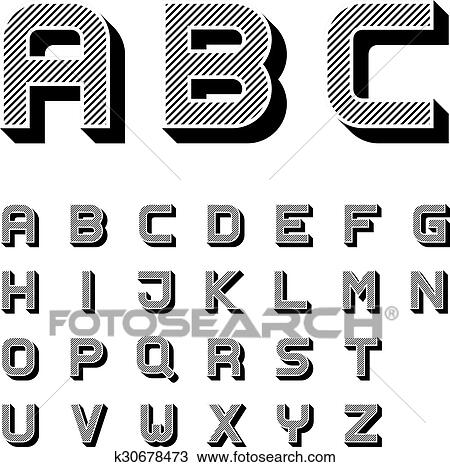 Clipart Of 3d Black Striped Font Alphabet Letters K30678473 Search