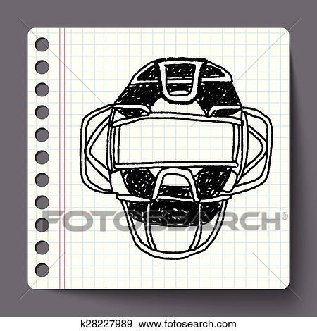 Baseball Catcher Doodle Clip Art K28227989