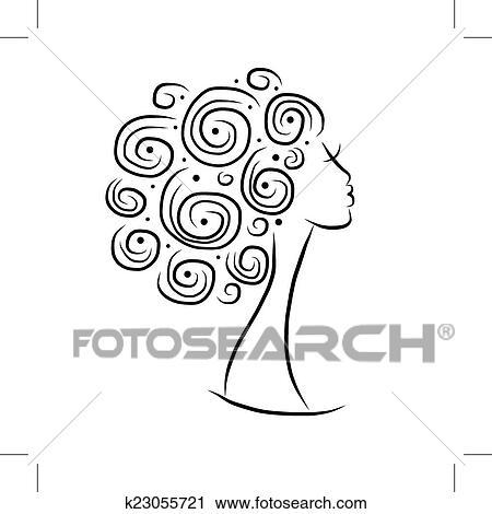 Femininas Cabeca Silueta Para Seu Desenho Clipart K23055721