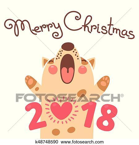 Clipart Joyeux Noel 2018 Carte A Dog Rigolote Chiot