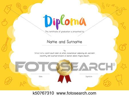 Clipart Of Kids Diploma Or Certificate Template With Hand Drawing