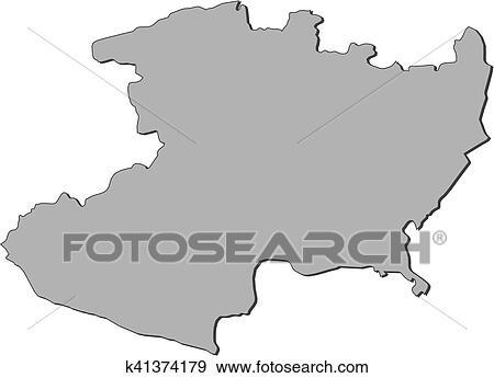 Clip Art Of Map Michoacan Mexico K41374179 Search Clipart