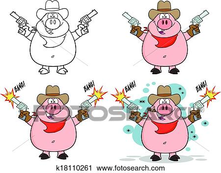 clipart of pig characters 4 collection set k18110261 search clip