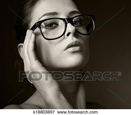 Image Sexy Femme Dans Lunettes Regarder Hot Noir Blanc