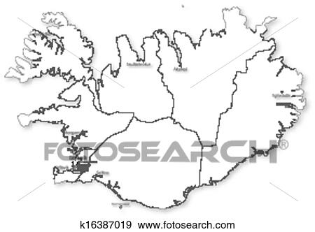 Clip Art of Vector map of Iceland with regions & cities k16387019 ...