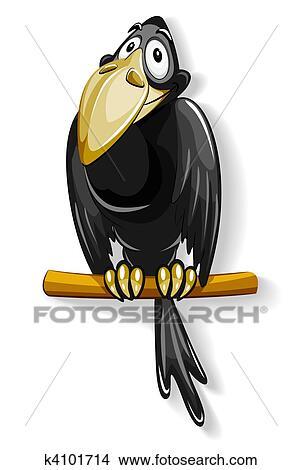 بارع الغراب الأسود جلسة عن القطب Clipart K4101714 Fotosearch