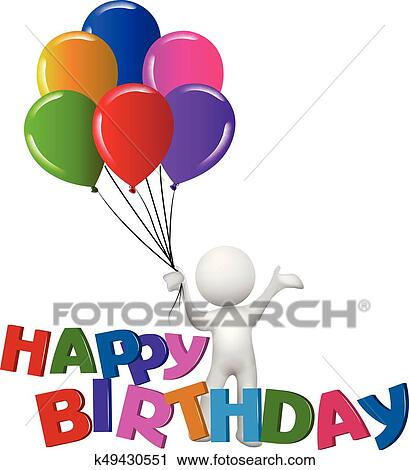 clipart of 3d white people with happy birthday words with balloons