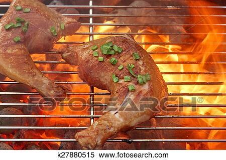 Colección de imágen - barbacoa, pollo asado, cuartos, en, el ...