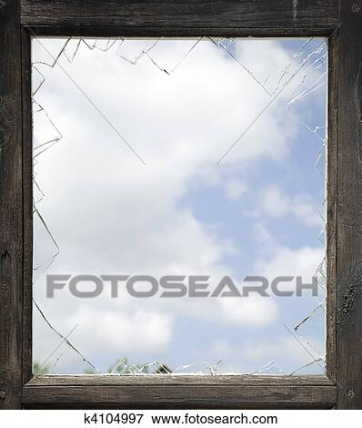 Picture of Broken window with old wooden frame k4104997 - Search ...