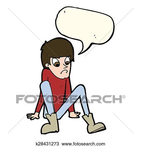 Drawing Of Cartoon Boy Sitting On Floor With Speech Bubble K28431273