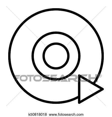 clip art of disc cd dvd line icon vector pictogram k50818018 rh fotosearch com cd clip art free download cd clip art web page design