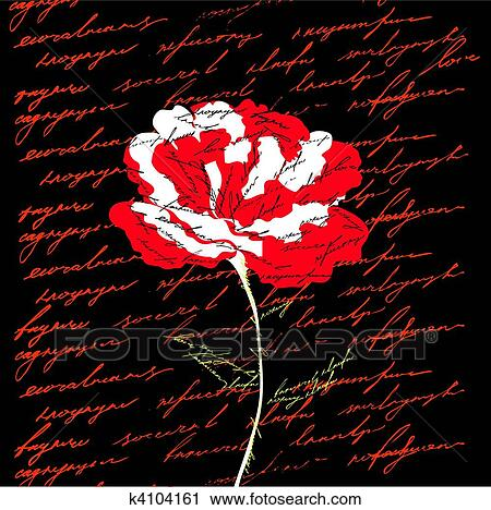 Fiore Rosso Su Sfondo Nero Clipart K4104161 Fotosearch