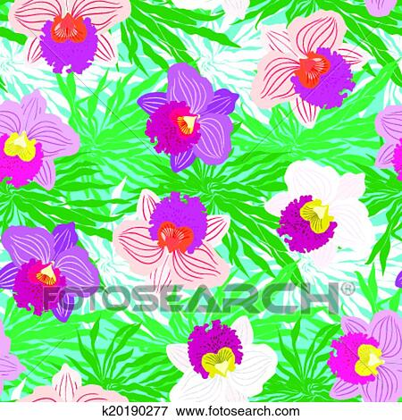 Floral Tropical Pattern With Orchid Flowers Clip Art