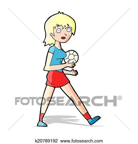 Karikatur Fussball Madchen Clipart K20789192 Fotosearch