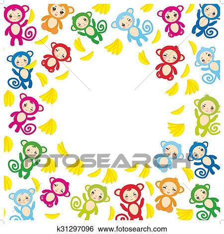 Gelbe Karte Lustig.Karte Schablone Lustig Grün Blau Rosa Orange Affe Gelb Bananen Jungen Mädchen Weiß Hintergrund Vektor Clip Art