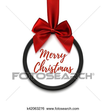 Merry Christmas Ribbon Clipart.Merry Christmas Black Round Banner With Red Ribbon And Bow Clip Art