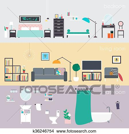 Set di colorito vettore disegno interno casa stanze for Disegno interno casa