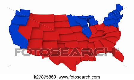 Stock Illustration of USA map Presidential Elections 2004 k27875869 ...