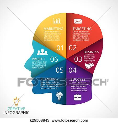 Clipart Of Vector Human Face Infographic Cycle Brainstorming Head
