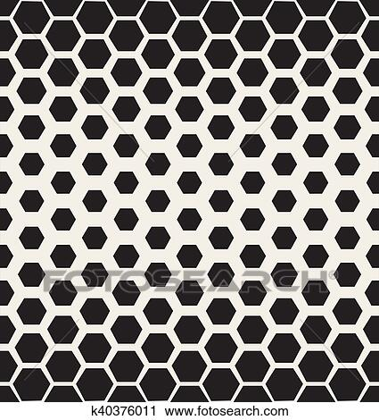 Clipart Of Vector Seamless Black And White Halftone Hexagonal Grid